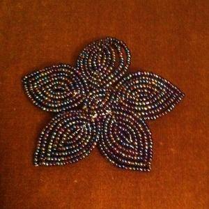 Hand beaded flower lapel pin