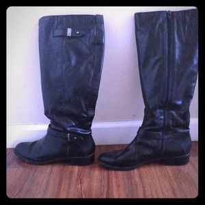 Boots - Black tall leather boots👢
