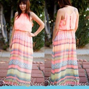 Dresses & Skirts - The LAURA chevron Maxi dress- NEON CORAL