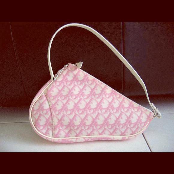 f72e0cfbae0 Dior Bags | Christian Pink And White Logo Saddle Bag | Poshmark