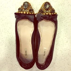 Miu Miu Shoes - ⚡1 DAY SALE⚡️Miu Miu Crystal embellished flat!