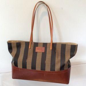 FENDI Bags   Tobacco Leather Brown Striped Tote Bag   Poshmark 694c617940