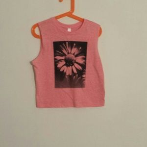 Pink Crop Top With A Black And White Daisy