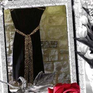 Dresses & Skirts - Speechless Black Evening Dress with Leopard Trim
