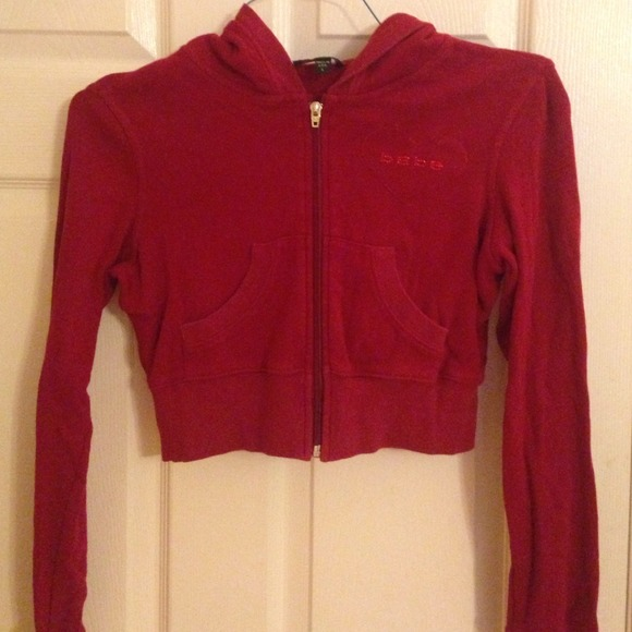 Bebe Jackets Coats Red Cropped Zip Up Hoodie Poshmark