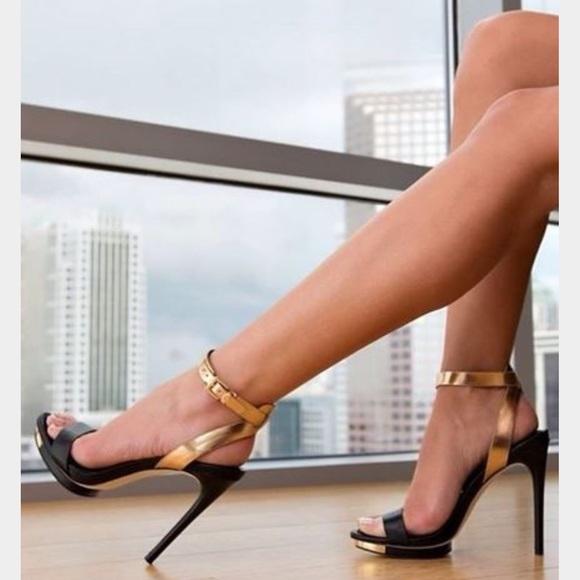 ce9113762 BCBGMaxAzria Shoes - BCBG Finite black gold ankle strap sandal heel 6.5