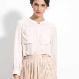 McGinn Long sleeve Polyester Cream Blouse 10 NWT