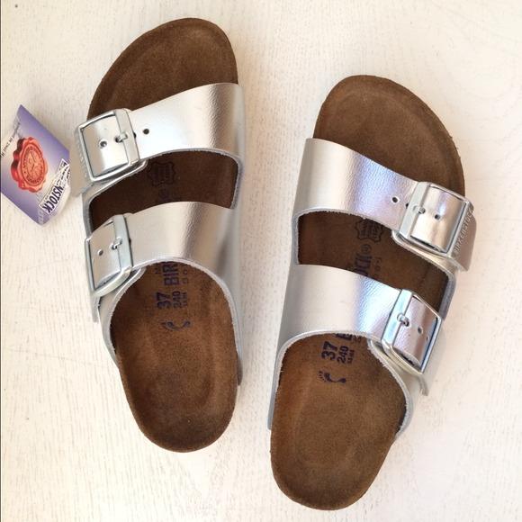 NWT Arizona Birkenstock Metallic Silver Sandals 37 817e8bcde27