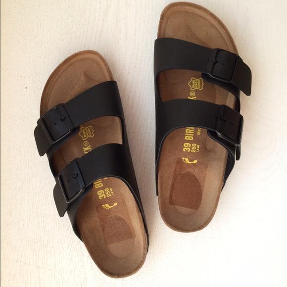 24d9a24bff2 Birkenstock Shoes - NWT Arizona Birkenstock Black Leather Sandals 39