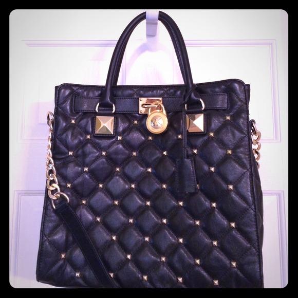 bd35fdc90040 Michael Kors Bags | Black Studded Quilted Hamilton | Poshmark
