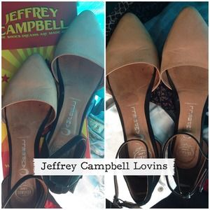 Jeffrey Campbell Lovins ankle strap flats nude
