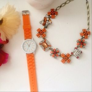 Orange rhinestone statement necklace