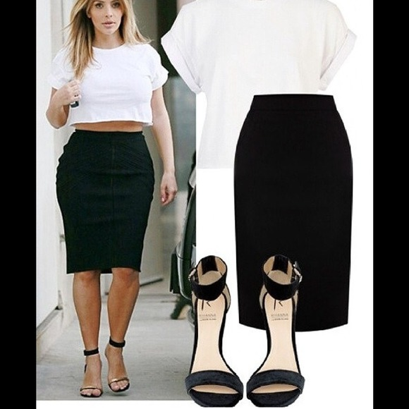 67% off Dresses & Skirts - Knee high long pencil tight black skirt ...