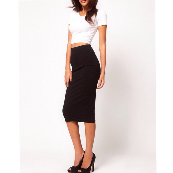 64% off Dresses & Skirts - Knee high long pencil tight black skirt ...