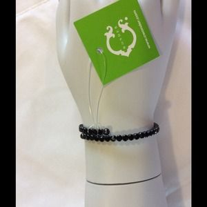 C. WONDER STRETCH BLING BRACELET JET BLACK NWT