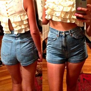 Topshop Denim - Top shop high waisted denim shorts
