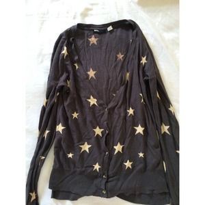 Gray cardigan with stars print