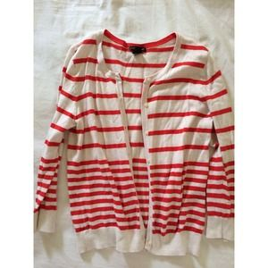 H&M, coral & cream striped cardigan