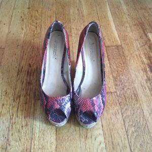 Tova - Pair of sexy, skyhigh peeptoe wedge sandals
