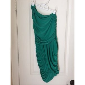 Green, one shoulder dress, gorgeous on!