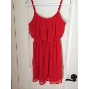 Forever 21, red chiffon dress!