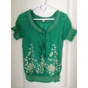 Forever 21, green embroidered top with ties