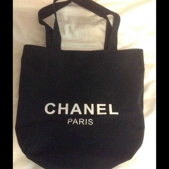 d5efb787823b Chanel black white canvas beach tote shopping shop