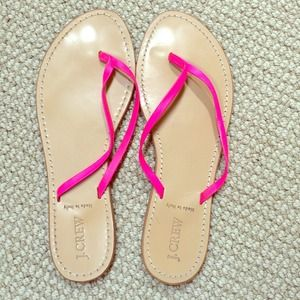 J.Crew sandals with hot pink straps.
