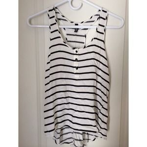 H&M, black & white striped tank
