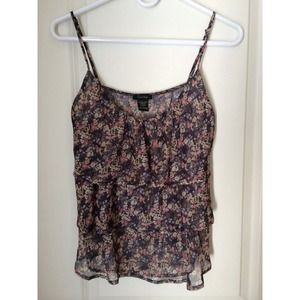 Ruffle floral tank with spaghetti straps!