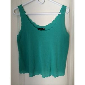 Teal tank with scalloped edges & purple tank.