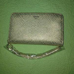 Brushed Gold Fossil Wristlet Wallet