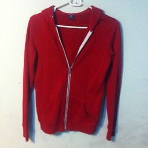 Zine Red Zip Up Hoodie