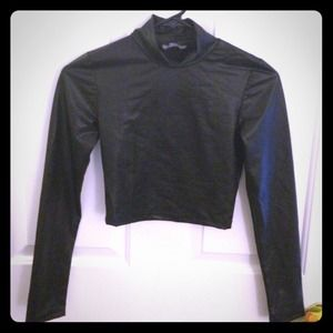 Faux leather black long sleeve cropped top