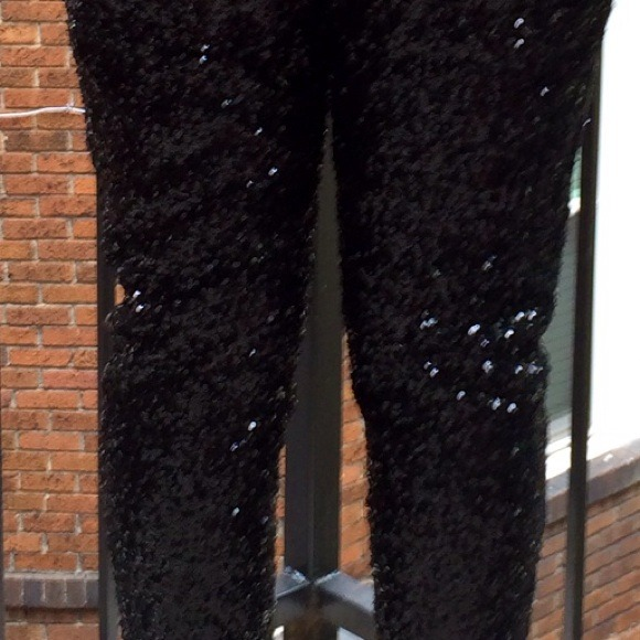 missguided Pants - Black Sequin Trousers