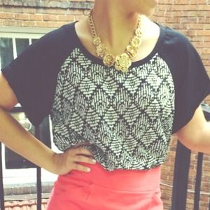 Baseball Sleeve Patterned Blouse