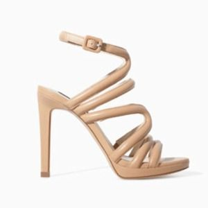 ZARA Nude Strappy Sandals w/ Ankle Strap