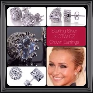 Jewelry - 2 Pairs 3 CTW CZ Sterling Silver Crown Earrings