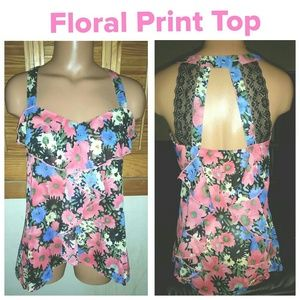Tops - SOLD!! NWOT Floral Print Sheer Top