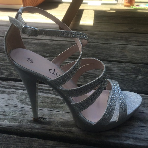 36 deb shoes classic silver heels prom shoes from