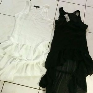 Tops - Black and white high low sheer top. Brand new
