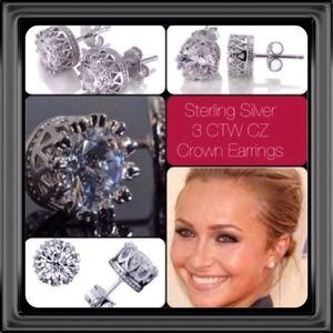 Jewelry - 3 CTW CZ Sterling Silver Crown Earrings NWOT
