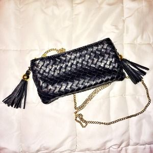 Handbags - Black braided leather chain purse