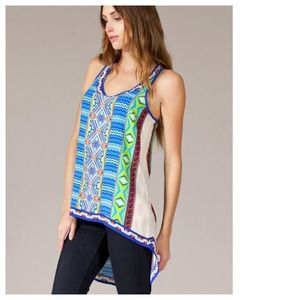 Tops - Blue Lime Coral Baroque Hi-Lo Tunic