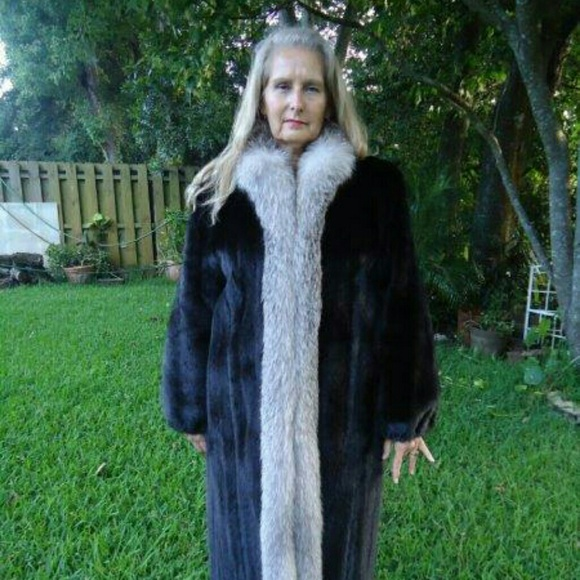 62% off Outerwear - Full length black mink coat with silver fox ...