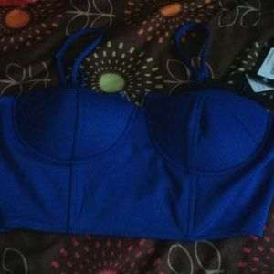 Tops - Roysl blue crop with built in bra brand new