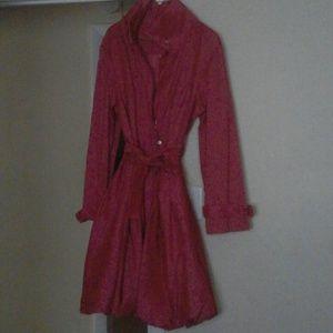 Outerwear - Fushia swing trench coat with high collar