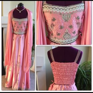 Dresses & Skirts - 🎉2xHP🎉NWOT Pink Silk Langa w/ Beading & Threadwk