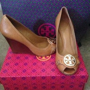 93ed82c2daf Tory Burch Shoes - Tory Burch Leticia Wedge Leather Heels