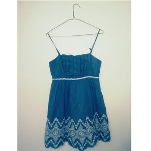 Adorable blue scalloped sun dress